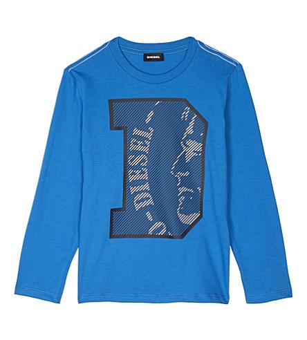 DIESEL Logo cotton T-shirt 8-16 years (Blue