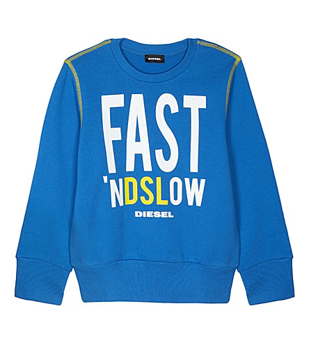 DIESEL Fast 'nDSLow crew neck cotton jumper 8-16 years (Blue