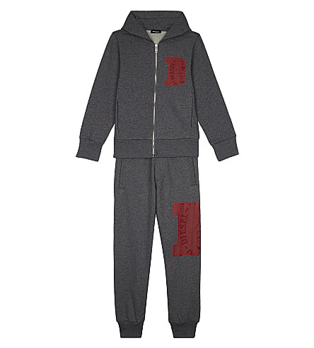 DIESEL Logo print hooded cotton tracksuit 8-16 years (Grey
