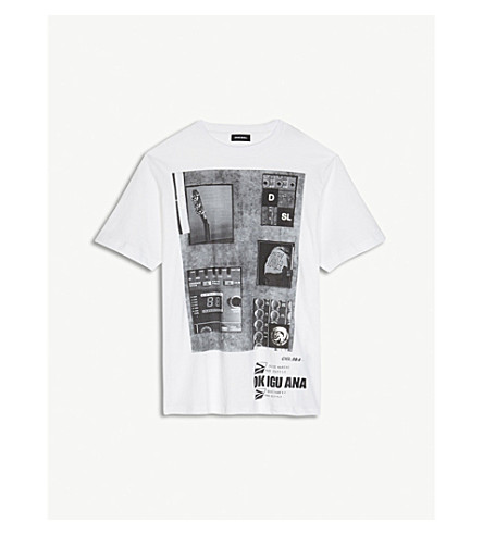 DIESEL Guitar-graphic cotton T-shirt 4-16 years (White
