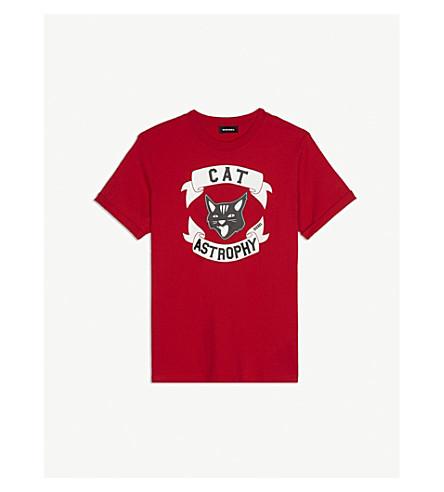 DIESEL Cat-astrophy logo cotton T-shirt 4-16 years (Red