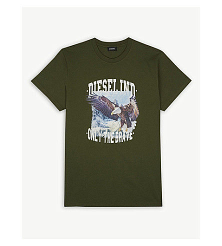 DIESEL Eagle cotton T-shirt 4-16 years (Olive