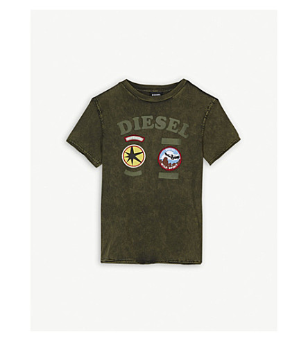 DIESEL Branded badge cotton T-shirt 4-16 years (Olive