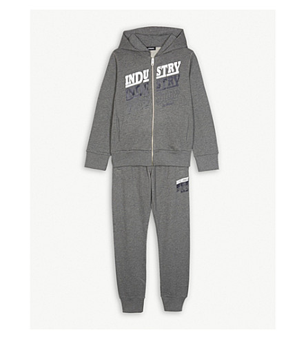 DIESEL Industry cotton tracksuit set 4-16 years (Grey