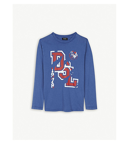 DIESEL Logo long-sleeved T-shirt 4-16 years (Blue
