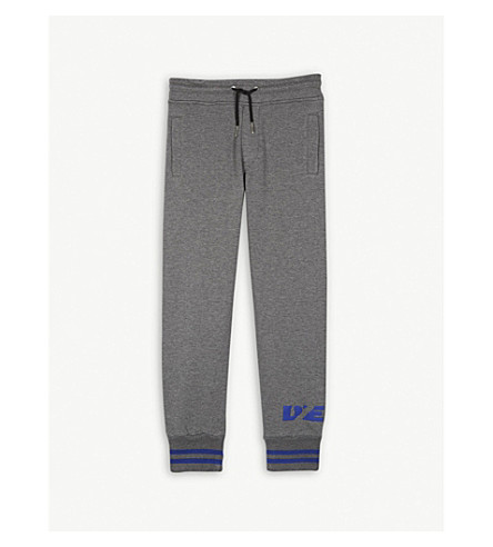 DIESEL Logo cotton jogging bottoms 4-16 years (Grey+marl