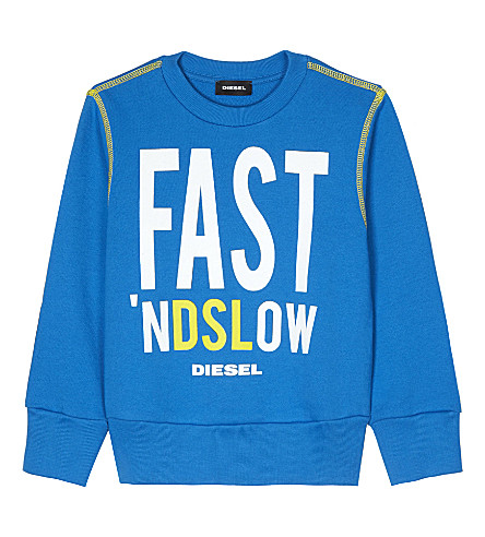 DIESEL Fast 'nDSLow crew neck cotton jumper 4-6 years (Blue