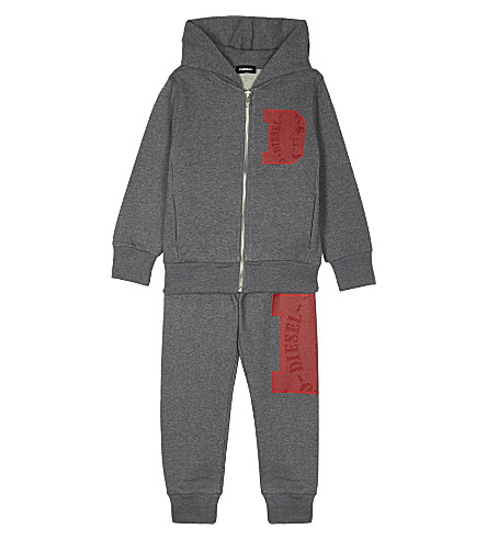 DIESEL Logo print cotton hooded tracksuit 4-6 years (Grey