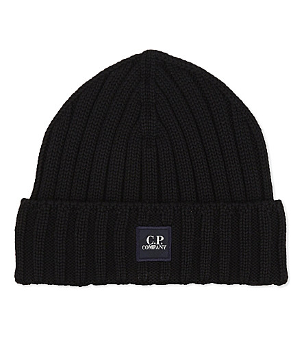 CP COMPANY Ribbed knitted beanie (Black