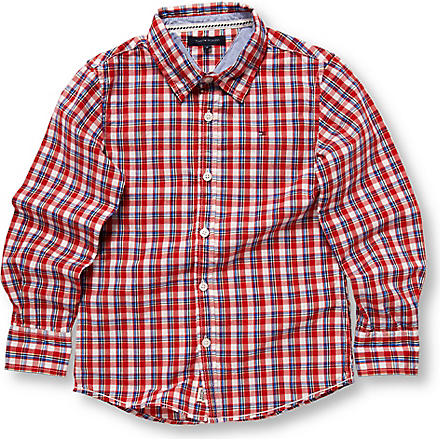 TOMMY HILFIGER Appliqué back checked shirt 8–16 years (Red