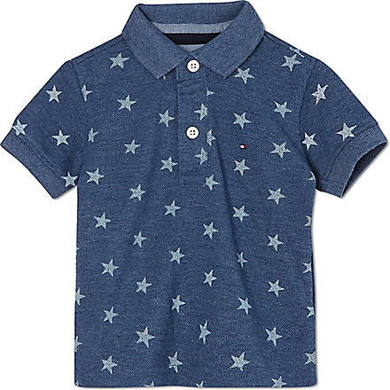 TOMMY HILFIGER Star print polo shirt 2-16 years (Blue