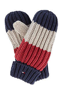 TOMMY HILFIGER Knitted rugby striped mittens