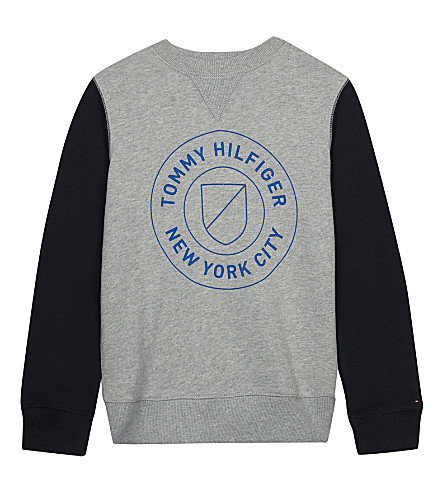 TOMMY HILFIGER Logo raglan cotton jumper 4-16 years (Grey/navy