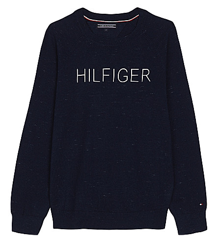 TOMMY HILFIGER Logo cotton jumper 4-16 years (Navy