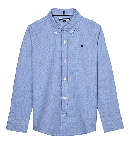 TOMMY HILFIGER Embroidered logo cotton dobby shirt 4-16 years (Blue