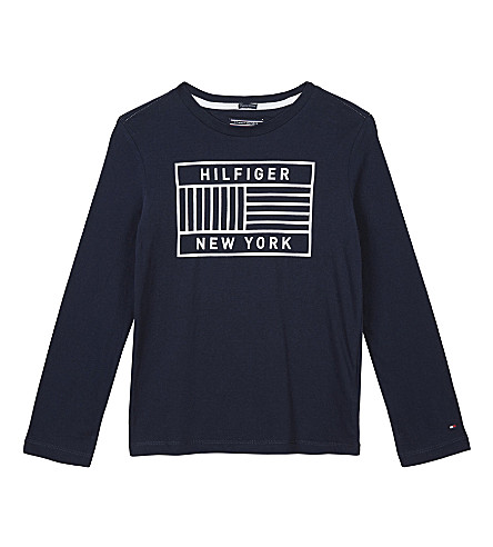 TOMMY HILFIGER Flag logo cotton t-shirt 4-16 years (Navy