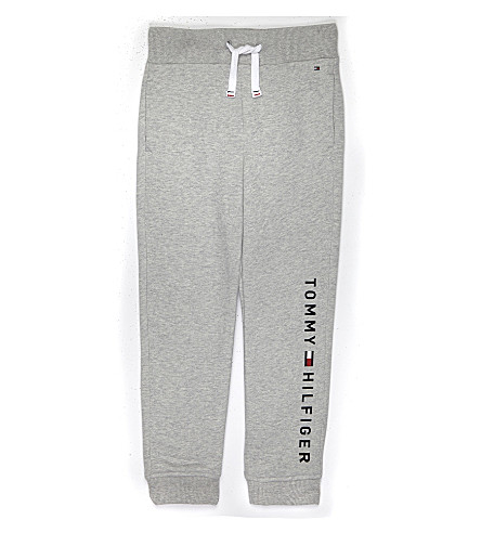 TOMMY HILFIGER Embroidered logo cotton tracksuit bottoms 4-16 years (Grey