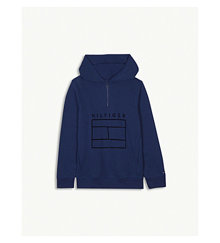 TOMMY HILFIGER Logo cotton-blend hoody 4-16 years (Blue