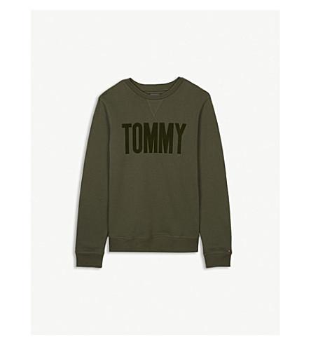 TOMMY HILFIGER Felt logo cotton-blend jumper 4-16 years (Khaki