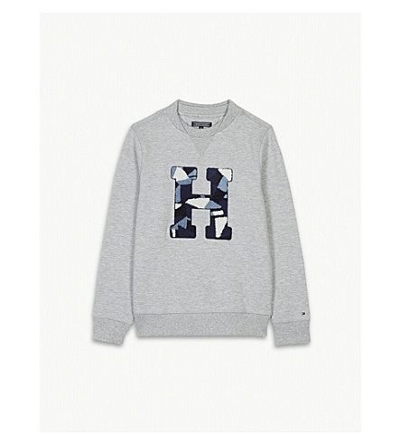 TOMMY HILFIGER Appliqué camouflage towelling 'H' logo cotton-blend jumper 4-16 years (Grey