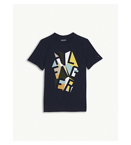 TOMMY HILFIGER Logo print cotton T-shirt 4-16 years (Navy