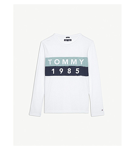 TOMMY HILFIGER Striped logo print long-sleeved top 4-16 years (White