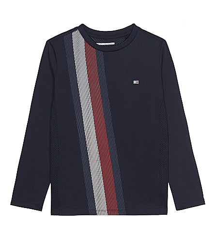 TOMMY HILFIGER Logo stripe mesh panel long-sleeved top 6-16 years (Midnight