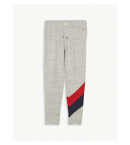 TOMMY HILFIGER Racing stripe cotton tracksuit bottoms 4-16 years (Grey