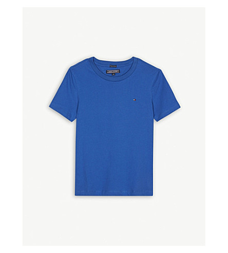 TOMMY HILFIGER Flag logo cotton T-shirt 4-16 years (Blue
