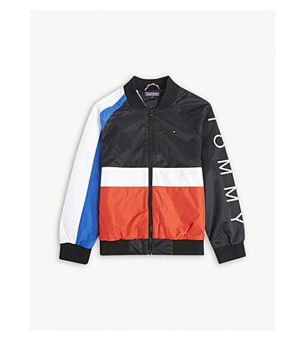 TOMMY HILFIGER Logo colour-block bomber jacket 4-16 years (Black