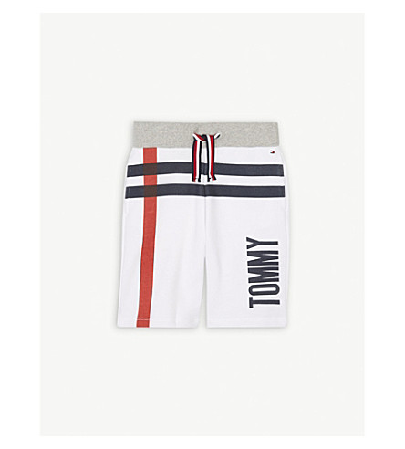 TOMMY HILFIGER Logo striped cotton shorts 4-16 years (White