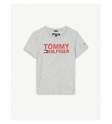TOMMY HILFIGER 徽标棉 T 恤 4-16 岁 (灰 + 石灰泥