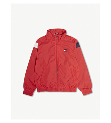 TOMMY HILFIGER Logo colour-block nylon jacket 8-16 years (Red