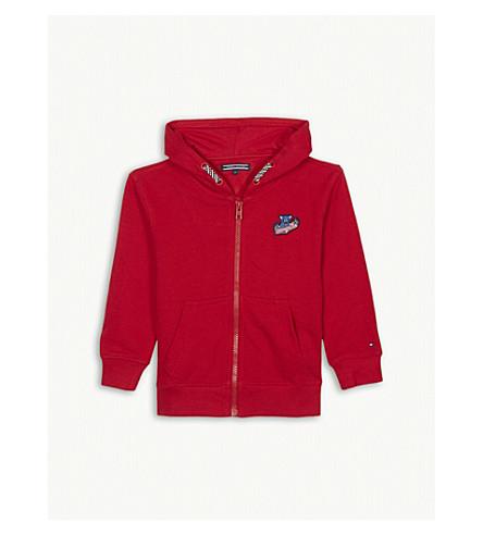 TOMMY HILFIGER 徽章棉拉链帽衫 4-16 岁 (红色