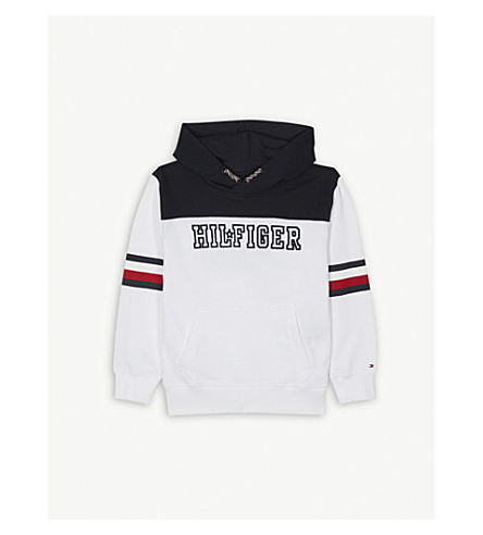 TOMMY HILFIGER Striped logo cotton hoody 4-16 years (White