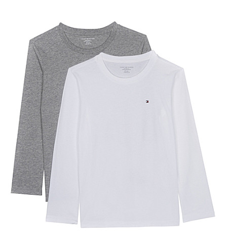 TOMMY HILFIGER Icon long-sleeved cotton T-shirts pack of two 4-16 years (White/grey+heather