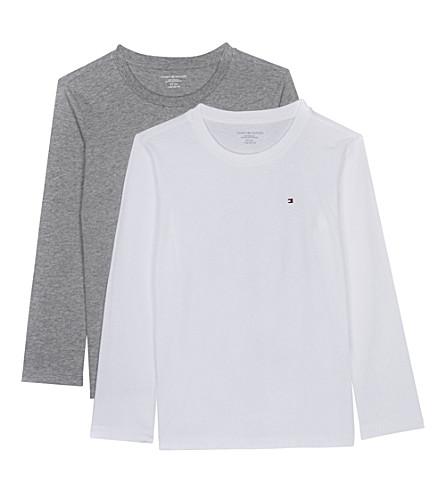TOMMY HILFIGER 图标长袖棉 t恤包两4-16 年 (白色/灰色 + 希瑟