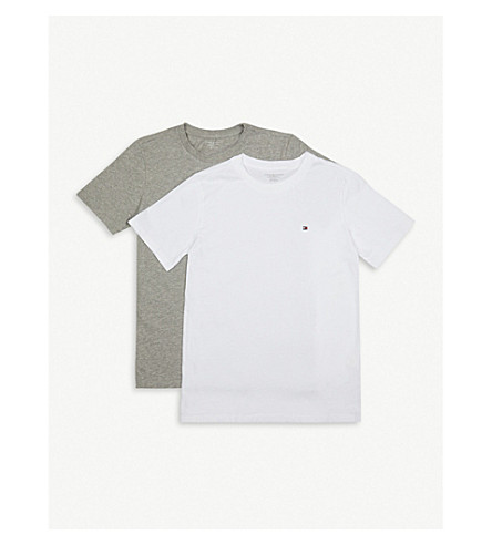 TOMMY HILFIGER Icon cotton T-shirt pack of two 4-16 years (White/grey+heather