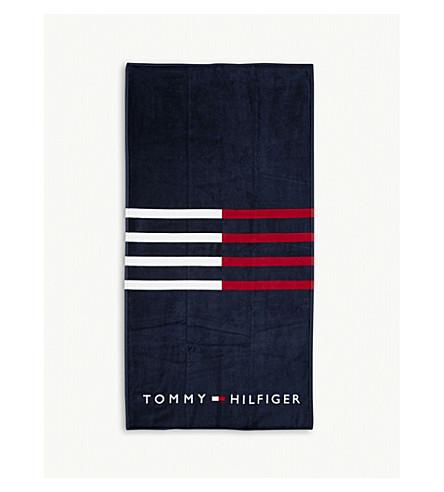TOMMY HILFIGER Logo striped cotton towel (Navy