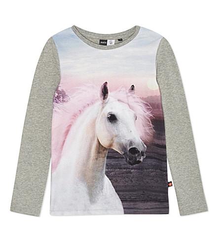 MOLO Rominda horse print t-shirt 4-14 years (Grey melange