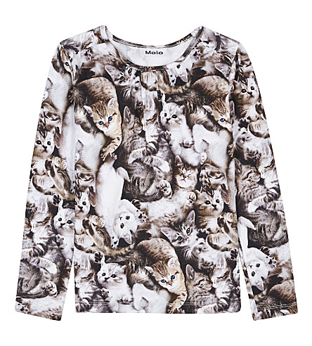 MOLO Cat print long-sleeved top 4-14 years (4630