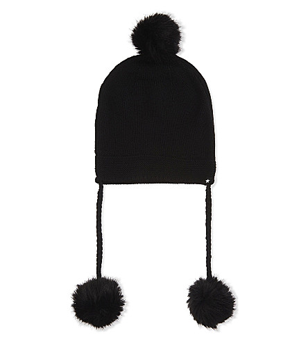 MOLO Keeli knitted wool bobble trapper hat (99