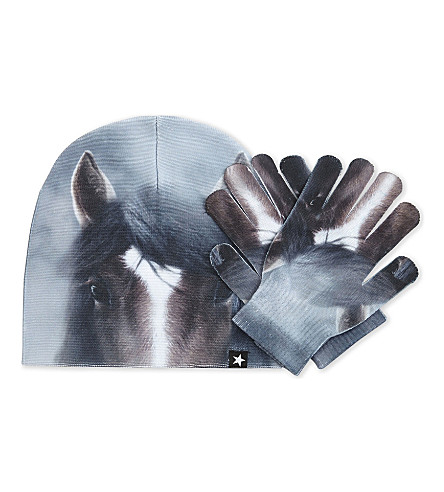 MOLO Kaya horse print hat and gloves set (104