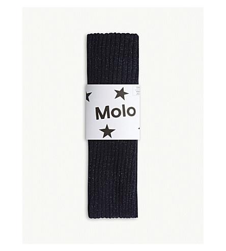 MOLO Metallic cotton-blend ribbed tights 3-14 years (Dark+navy