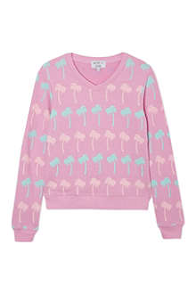 WILDFOX Pastel palms v-neck sweatshirt 7-14 years