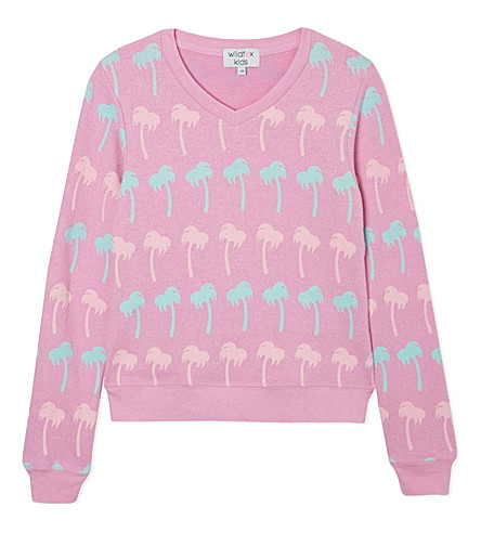 WILDFOX Pastel palms v-neck sweatshirt 7-14 years (Pink