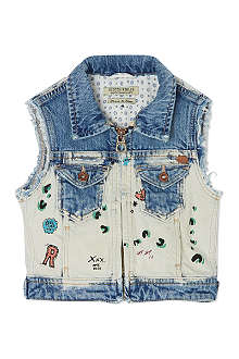 SCOTCH R'BELLE Graffiti sleeveless denim jacket 4-16 years