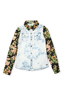 SCOTCH R'BELLE Floral-sleeve denim shirt 4-16 years