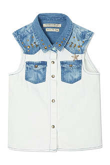 SCOTCH R'BELLE Bleached denim sleeveless shirt 4-16 years