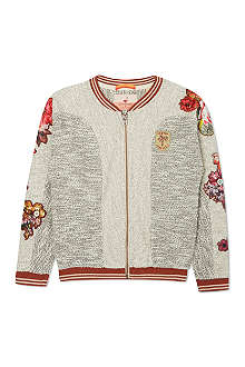 SCOTCH R'BELLE Knitted floral patch varsity jacket 4-16 years